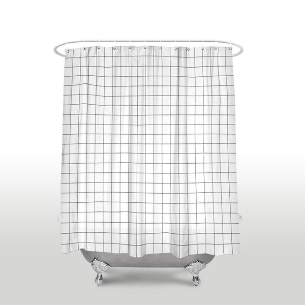 New Waterproof Simple Grid Pattern Shower Curtain with Hooks Polyester Fabric Black White Plaid Bathroom Curtains for Home Decor