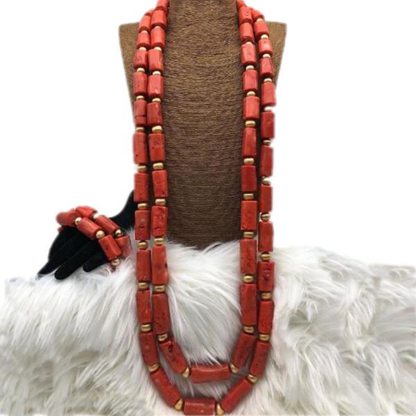 4 Jewellery Schmuckset 2018 Echte Koralle Perlen Halskette Schmuck Set Orange Oder Rot Bräutigam Feine Dubai Schmuck für Herrenmode