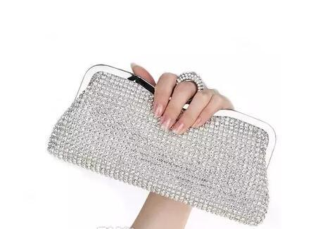 Diamond Rhinestone Evening Clutch Bag Free Shipping Finger Ring Handbag Purse Evening Wedding Party Bag mouth red wallet phone package Silve