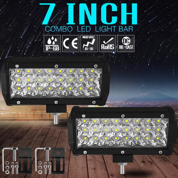 7 pulgadas 72W LED Barra de luz de trabajo Lámpara Luz de tira LED para motocicleta Tractor Barco Fuera de carretera 3 * 24W Camión SUV ATV Spot Flood Light 12V 24V