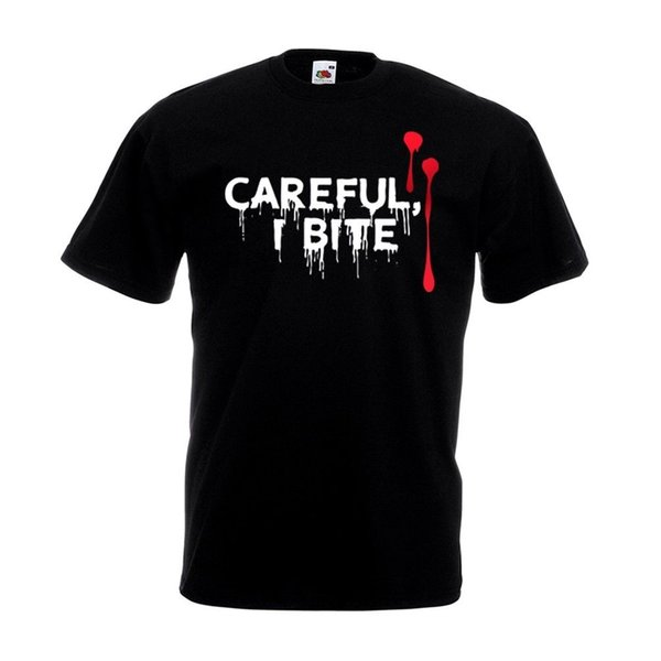 Careful I Bite T Shirt - Funny Vampire Halloween Party Outfit Costume Top