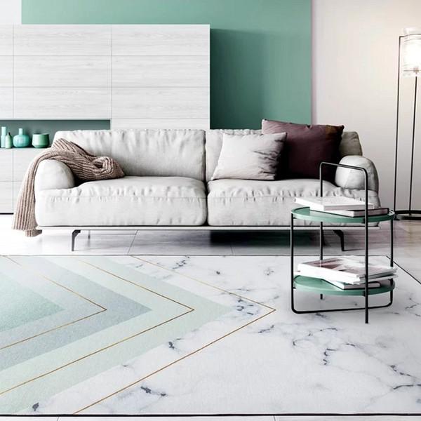 Simple Style Marbling Geometric Living Room Carpet, Big Size Lake Green  Color Bedside Carpet, Nordic Decoration Carpet Discount Carpet Tiles Gabbeh  ...