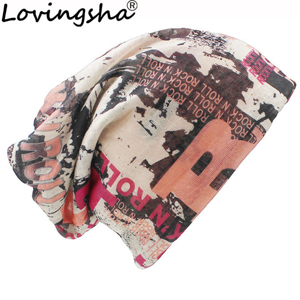 LOVINGSHA 2018 Fashion letter muffler scarf high quality skullies brand winter hats for women cap for men women beanie hat