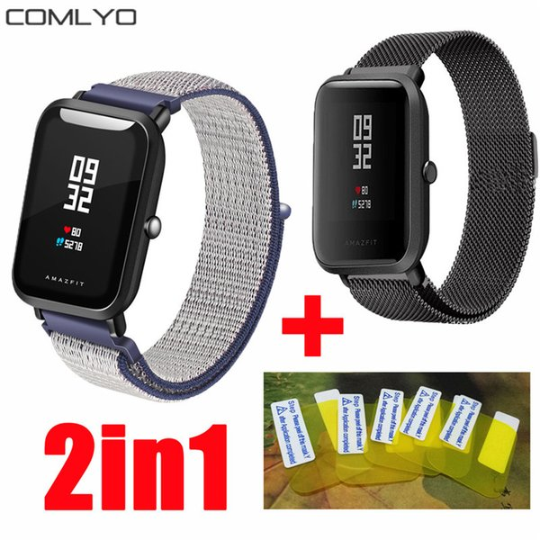 3in1 Milanese +Nylon Loop for Xiaomi Huami AMAZFIT bit bip Youth strap band GPS Sports Smart Watch bracelet +screen protector