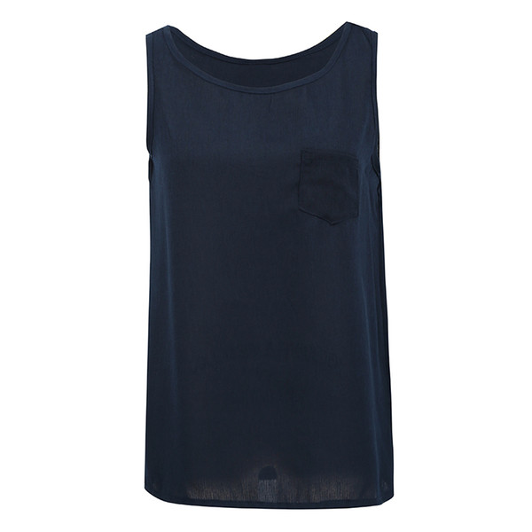New Women Loose Vest O Neck Sleeveless Chest Pocket Summer Shirts for Women Vest Large Size Camis Tops Casual Female Tanks Tops
