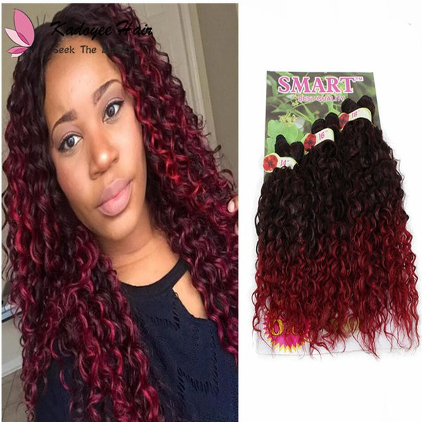 Synthetic jerry curly hair weaving extensions ombre black color Freetress crochet braiding Kanekalon For Bulk Of Hair Wholesale uk
