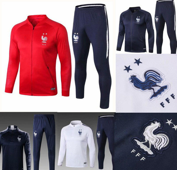 French 2star redness training suit 18 19 maillot de foot French national football training wear long sleeved tracksuit football jacket pan
