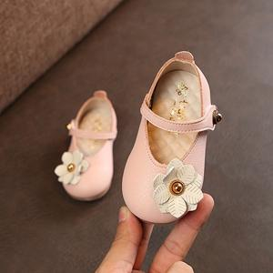 2018 nuovi 12-15.5CM Toddler Girls Shoes Neonate Pu Leather Flower Shoes Rosa perla Soft Princess Dress Grey