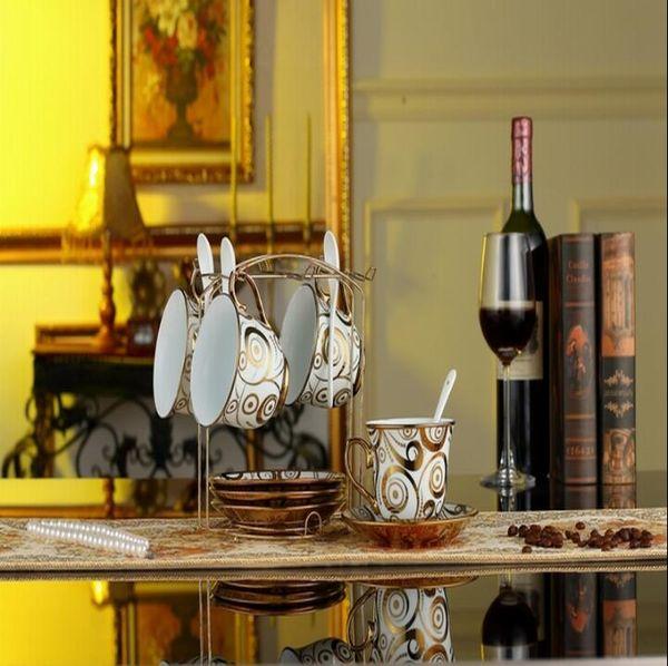 Luxury Drinkware 13 pcs European Ceramic Tea Set Porcelain coffee set Coffee Pot Coffee Jug Cup Saucer set
