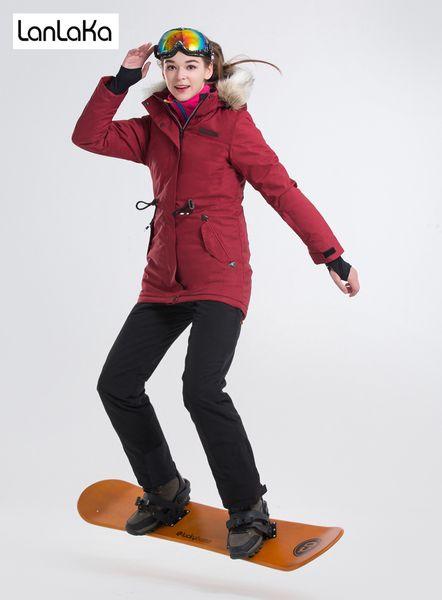 LANLAKA NEW Brand Ski Suit Women Waterproof Jacket High-Quality Ski Jacket+Pants Warm Lengthen 5 Color Optional Suits Female