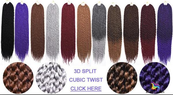 Vendita calda 24 pollici 12 fili ombre colore Sintetico Intrecciare I Capelli 3D Torsione Cubica di estensione dei capelli Crochet Trecce Fasci di capelli per donna nera