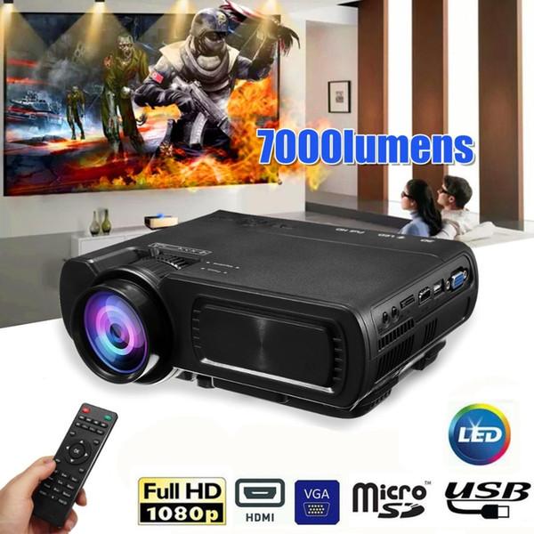 7000LM HD 1080 P T5 LCD projetor Beamer USB VGA HDMI AV TF Para Teatro de Cinema 12 V para 110 V / 240 V