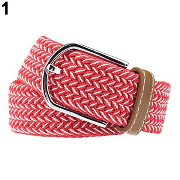 fashion men's women's casual canvas elastic waistbelt metal buckle knitted belt