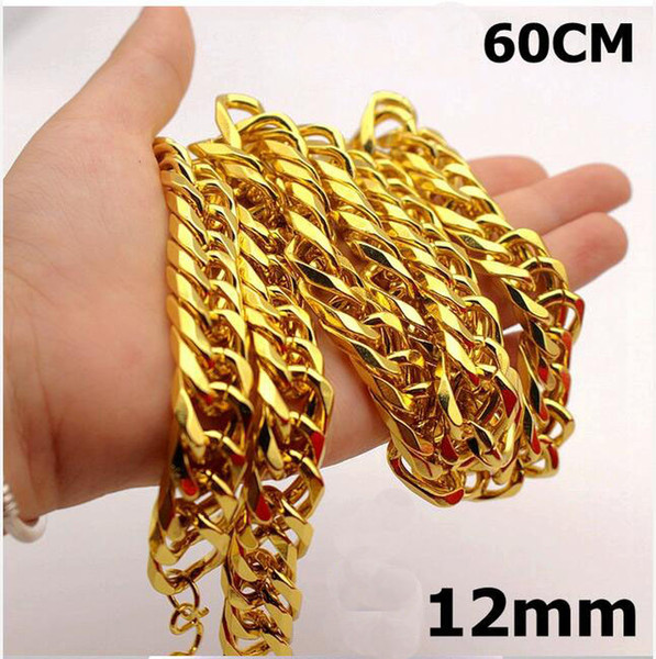 New Big Yellow Solid Gold Filled Cuban Chain Necklace Thick Men's Jewelry Women's Cool for dad boyfriend birthday gift A2
