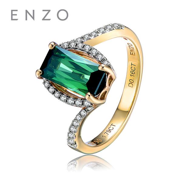 ENZO Pure 18K White Gold (AU750) 1,47 CT grüner Turmalin mit 26Pc / 0,16 CT Diamant-Verlobungs-Frauen-Ring-klassischem Schmuck