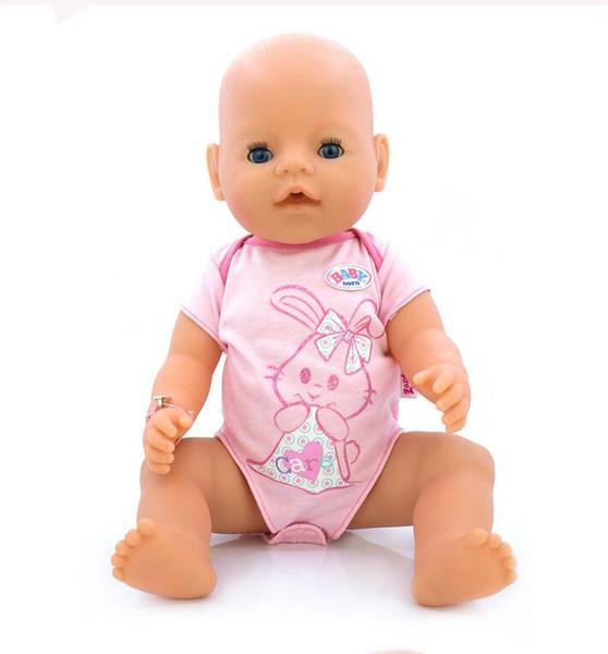 Estilo caliente 43 cm Bebé nacido Zapf Doll Pink Rabbit Jumpsuits Bebé nacido muñeca ropa niños mejor regalo ZD61