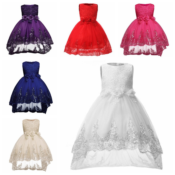 New spring and summer girls red flowers princess tail dress / white flower girl sequins wedding dress /into the store can choose more styles