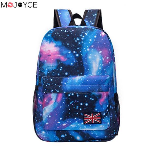 Fashion women backpack Unisex Stars Universe Space Printing Backpack School Book Backpacks British-flag Shoulder Bag