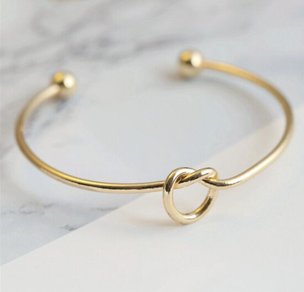 best selling Europe And United States Metal Gold ,Sliver,Rose Gold Color Jewelry Simple Wind Bracelet Personalized Knot Gifts Bracelet Tie Bangle Unisex