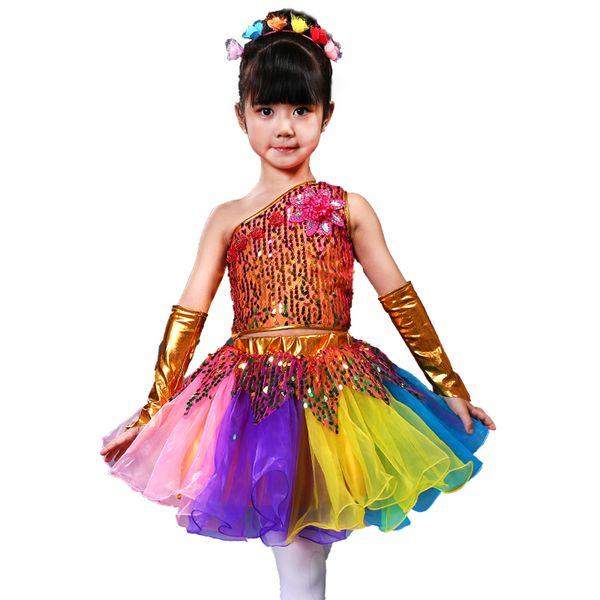 Los niños trajes de baile de ballet para niñas lentejuelas Jazz Dance Dress Kids Modern Performance Girl etapa Dancewear