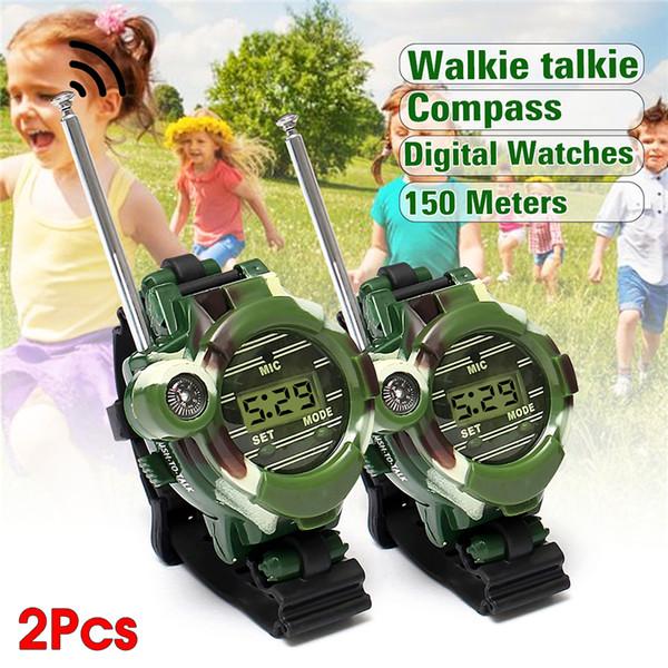Walkie Talkies per bambini bambini giocattolo Walkie Talkie Guarda bambino orologi allaperto gioco Interphone orologio regalo 150 metri di gamma 2PCS
