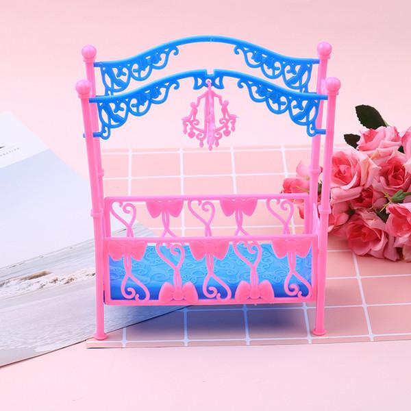 Für 11 CM Puppen Puppenhaus Wohnzimmer Möbel Kunststoff Puppen Bett Schlafzimmer Möbel Für Babie Puppenhaus Bett