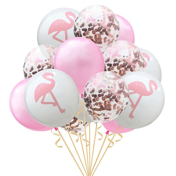 15pcs/set flamingo design party decorations balloons rose gold paper filled latex balloon 12inch inflatable bubble ballon supplies