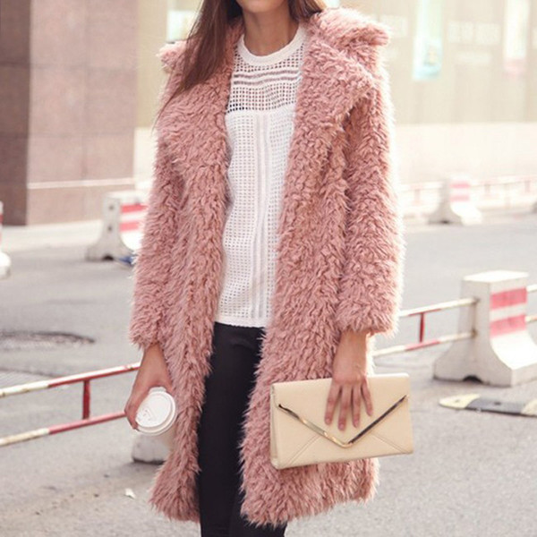 Long coat 2018 European and American winter new lamb wool long-sleeved jacket lapel furry ladies coat