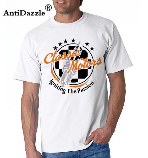 Antidazzle Moda Masculina Cor T-shirt Motociclista Do Carro Clássico hot rod Cafe Piloto Hill Climber Petrol Engrenagem Cabeça logotipo T camisa