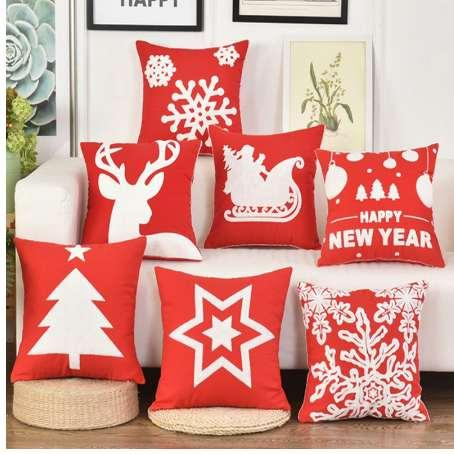 Christmas Embroidered Red Cushion Cover White Tree Deer Bell Snowflake Decoration Pillow Covers Polyester Cotton Sofa Pillowcase