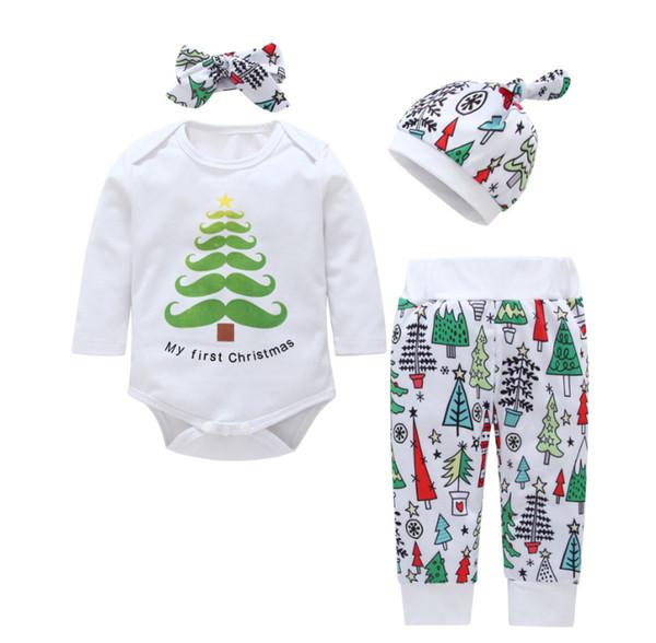 2018 내 첫 크리스마스 신생 의류 세트 유아 의류 바디 슈트 긴 소매 + 바지 모자 머리띠 4pcs / set 가을 0-18 개월