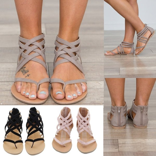 6 colors Flat Heel Clip Toe Hollow Out Roman Ankle Sandals Flip Flops Chunky Heels Beach Shoes