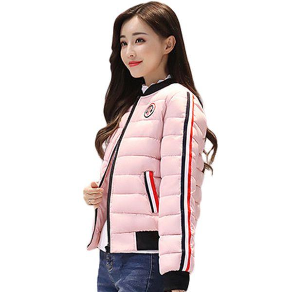 Mujeres 5 colores 2018 New Down Parkas chaqueta de algodón acolchado niñas delgado grueso corto abrigo de chaqueta femenina