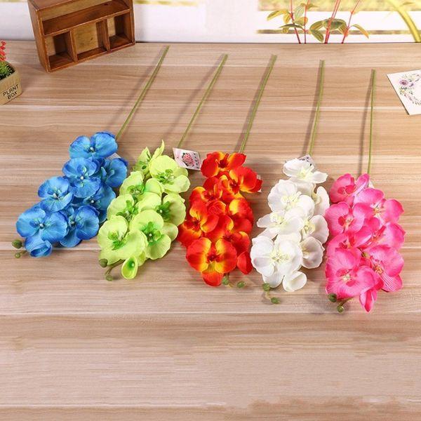 Yapay Çiçekler 8 Kafaları Düğün Süslemeleri Ipek Çiçek Simülasyon Parti Plastik Kapalı Aptal Işık Ev Döşeme Bitkileri 2 6lx BV