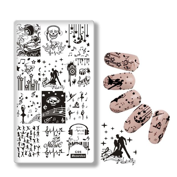 Mezerdoo Ballet Dancer Patterns Nail Art Stamp Stamping Kit Music Style Image Plates DIY Decoration Nail Templates Stencil C05
