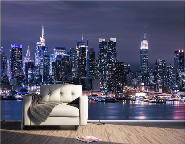 Acheter 3d Fond Décran Personnalisé Photo Moderne New York City à La Nuit Fond Mur Salon Bureau Décoration 3d Peintures Murales Papier Peint Pour