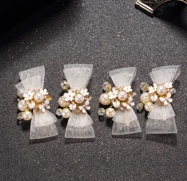 Korean bow bow hair clips, bridal crystal headwear, white wedding dress accessories, bridal handmade headwear