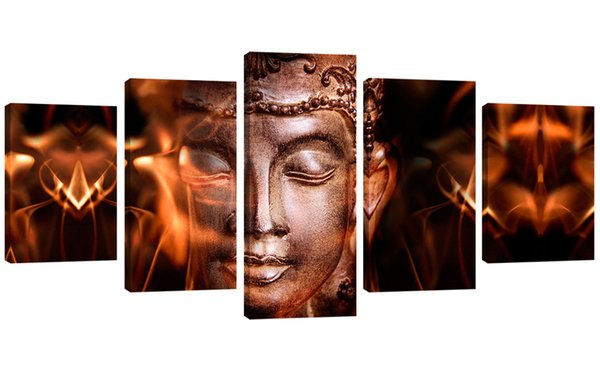 5 Panels Iron Face Buddha Picture Printed Abstract Canvas Painting Wall Art on Canvas for Home Decor Stretched Framed