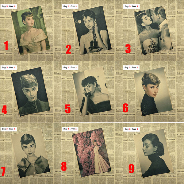 Audrey Hepburn Vintage Poster/Posters Adornment/Wall Stickers Retro Kraft Paper Adornment Movie Posters
