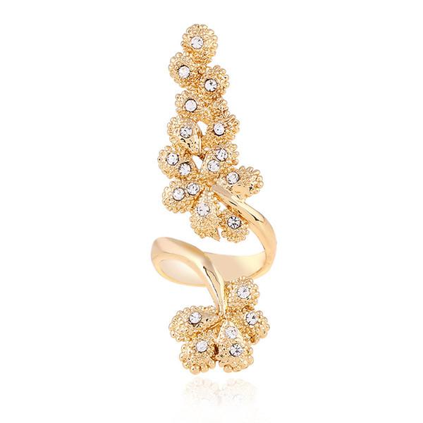 Fashional Korea Style White Crystal Band Ring For Women wedding party Gift Golden Flower Forefinger Ring Elegant Spiral Rings Jewelry