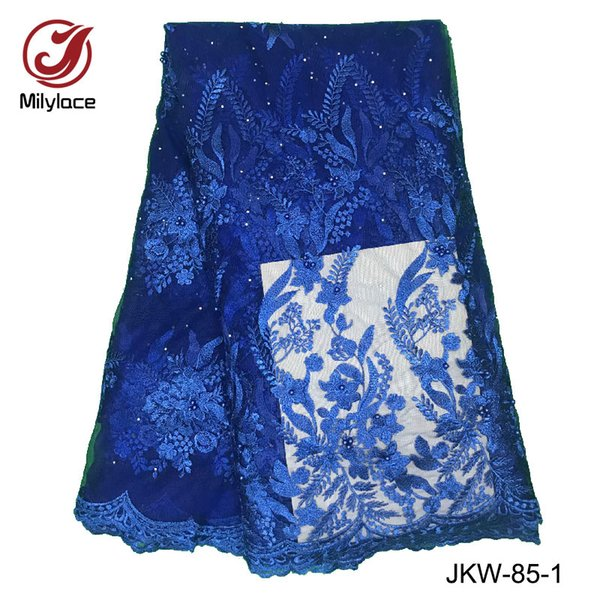 Wholesale beaded lace fabric hot selling african ankara lace fabric embroidery french tulle lace fabric for garment JKW-85