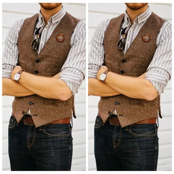 Formal Groom Vests Farm Wedding Wool England Style Vests Custom 2019 Slim Fit Mens Suit Vest Prom Wedding Waistcoat Herringbone Tweed