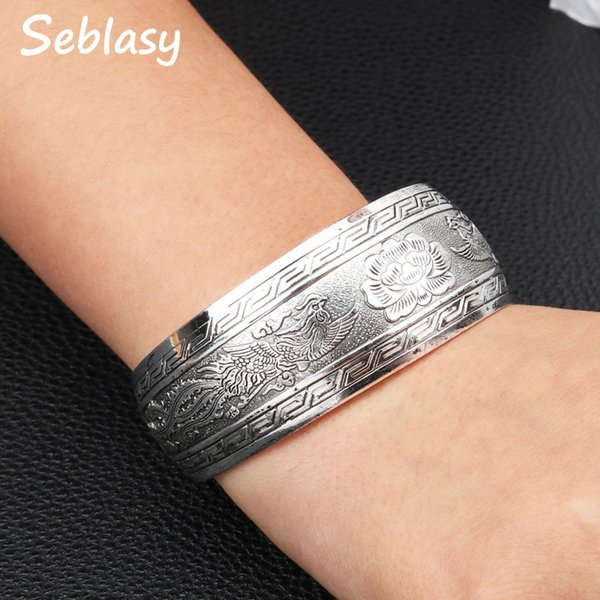 Sebalsy Vintage Punk Wide Statement Animal Eagle Flowers Bracelets & Bangles for Women Simple Style Open Cuff Party Jewelry
