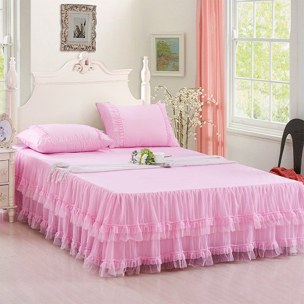 1pc Lace Bedspread pink princess mattress cover with rubber purple bed skirt Summer Korean style bed cover 150*200 queen bedding