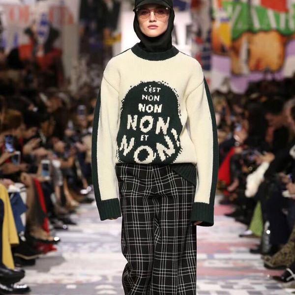 Runway übergroße Pullover 2018 Herbst Winter lose dicke Frauen lange Pullover Femal Buchstaben gestrickte Pullover Streetwear Jumper