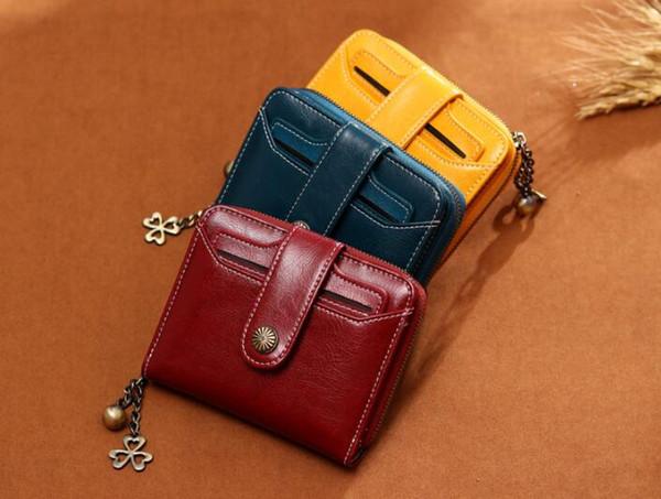 Echtes Leder Brieftasche Reißverschlüsse für Glücksgras Anhänger Geldbörse Concise klassische Handtasche Multicapacity Rindsleder Brieftaschen Lucky-Serie