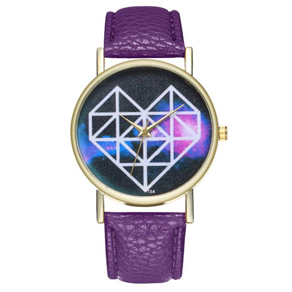 Relojes de las mujeres patrón de corazón de la mujer cinturón de cuero analógico de moda ronda de cuarzo de la venta caliente marca superior de envío de la gota reloj de mujer 2018
