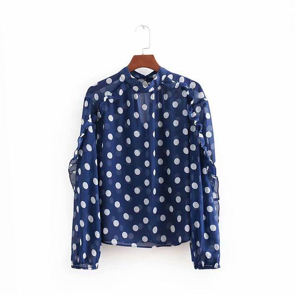 new women fashion polka dot printing pullover chiffon Blouse shirt women retro laminated ruffles casual blusas chic tops LS2605