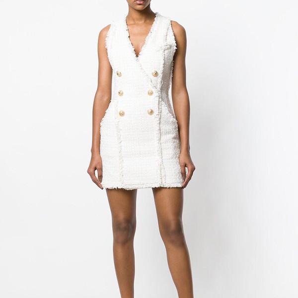 HIGH STREET New Elegante 2018 Designer Runway Vestido das Mulheres Com Decote Em V Duplo Breasted Botões De Metal De Lã Tweed Tassel Vestido