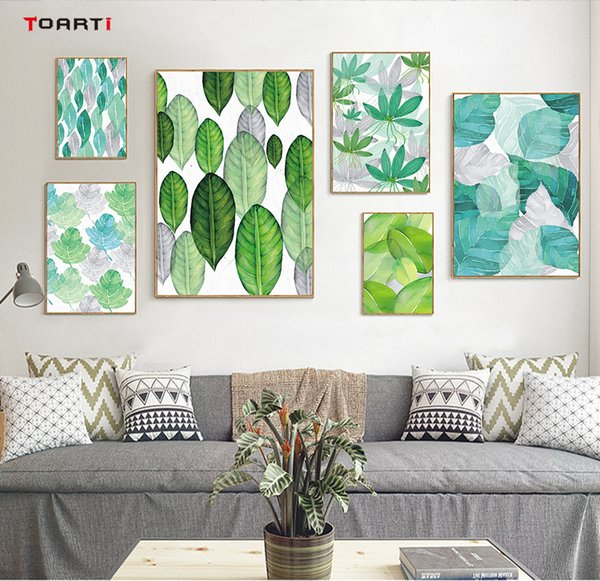 Modern Green Tropical Plant Leaves Canvas Art Painting Prints And Poster Nordic Plant Wall Pictures For Living Room Home Decor